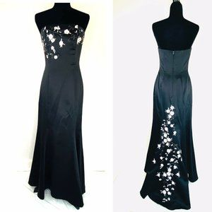 Betsy & Adam Embroidered Beaded Satin Gown NWOT 8
